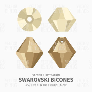 Vector illustration of Swarovski bicone beads 5328, 6328 - Bead Vector Graphic - Ai, Eps, Pdf, Png