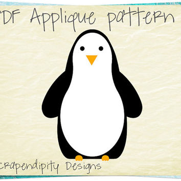 Penguin Applique Template - Zoo Applique Pattern / Penguin Fabric Applique / Zoo Quilt Pattern / Boys Animal Shirt / Table Runner AP356-D