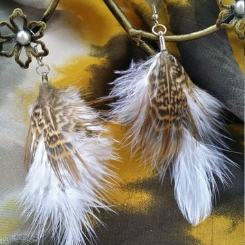 White Feather Earrings with Natural Pheasant Feather - Feather Earrings - Brown Feather Earrings - Pheasant Earrings