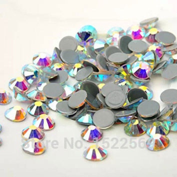2058HF Crystal AB Hot Fix Rhinestones Crystals All Sizes SS6-SS16-SS20 Flatback Strass Stones Iron Rhinestone For Clothes