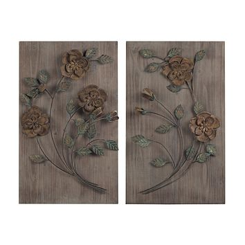 SET OF 2 WOODEN WALL PANEL WITH HANDPAINTED METAL FLOWERS