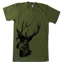 Mens Deer Genius Woodland Buck T Shirt tee - American Apparel Tshirt - XS S M L XL and XXL (28 Color Options)