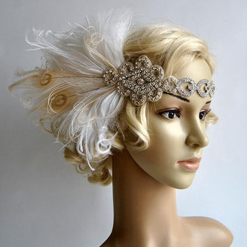 Ready to ship White Dream Rhinestone The Great Gatsby 1920s Flapper Headdress bridal dance peacock headpiece headband, white ivory champagne