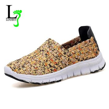 Women Flats Summer Casual Shoes Breathable Female Woven Shoes Slip On Ladies Loafers Handmade Shoes Size 35-41