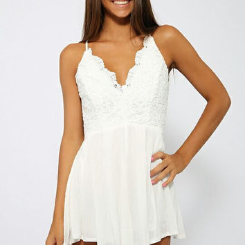 White V Neck Lace Spaghetti Strap Cut Out High Waist Pleated Jumpsuit