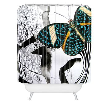 Deb Haugen Ink Black Butterfly Shower Curtain