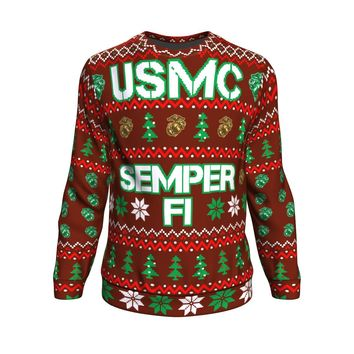 US Marine Corps Semper Fi Ugly Christmas Sweater