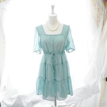 Spring Woodland Style Cottage Alice in wonderland  fairytale tunic babydoll mint green pleated chiffon dress 2 way