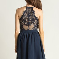 Belinda Navy Lace Back Dress