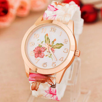 High Quality Quartz watch Wrist Watches Women Girl Watch top brand luxury Silicone Printed Flower Causal Reloj #LSIN