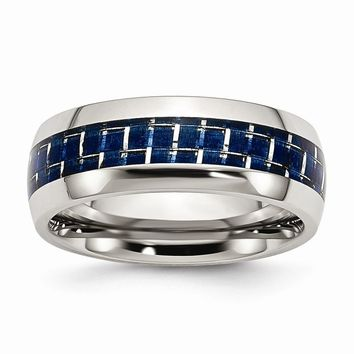 Men's Stainless Steel Blue Carbon Fiber Inlay Polished Wedding Band Ring