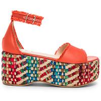 RAS Damasco Sandal in Coral Satin Bright Twill | REVOLVE