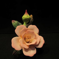 Capodimonte Style Rose Flower and Bud, Fine Porcelain, Made in China  (1597)