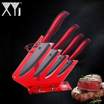 XYj 4 Pcs Ceramic Kitchen Knife+ One Peeler + Knife Holder Block Stand High Quality Kitchen Knife Set Hot Accessories Tools