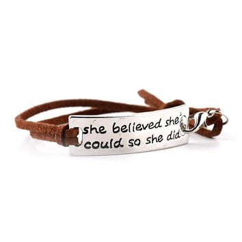 'She Believed She Could So She Did' Leather Bracelet