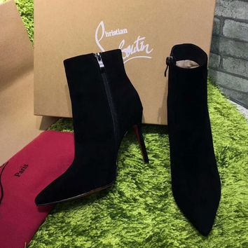 Best Online Sale Christian Louboutin CL Top Suede Ankle Boot Black