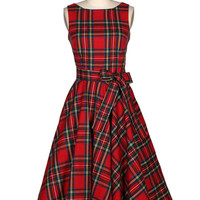 Red Plaid Fit N Flare Vintage Style Dress - Sash Incl