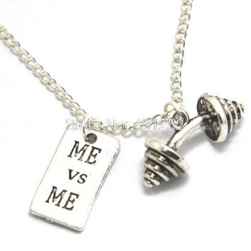 12pcs/lot Motivational Necklace Barbell Jewelry Dumbbell Necklace Sold By GO FIND YOURSELF