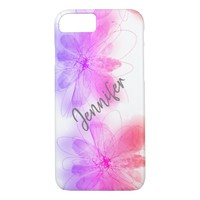 personalized pretty watercolor flowers iPhone 8/7 case
