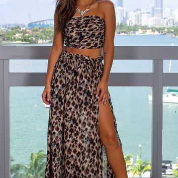 Leopard Print Skirt Set