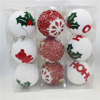 9pcs/lot Snowflake Christmas Tree Decor Ball Hanging Ornament for Xmas Party White Red Diameter 8cm Balls decorations Supplies