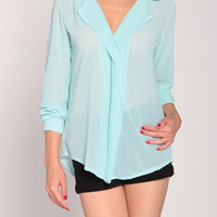 Double Collar Blouse in Light Aqua