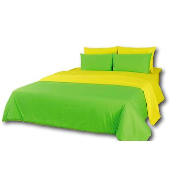 Tache 4-6 Piece Lemon Lime Yellow and Green Reversible Comforter Set