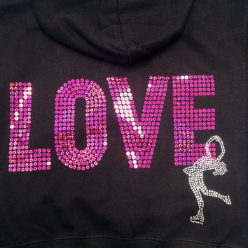 LOVE ICE SKATING Jacket Hoodie Sweatshirt - (7 Customizable Colors)