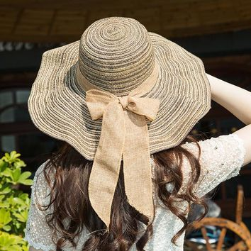 Summer Seaside Floppy Sun Caps Women's Outdoor Large Brim Sunshade Striped Straw Hats Sun Protection Sports Foldable Hats