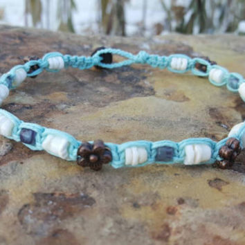 Hemp Anklet, Puka Shells, Czech Glass Beads, Flower Beads, Hemp Jewelry, Handmade, Shell Anklet, Puka Shell Anklet, Beach Jewelry, Gift