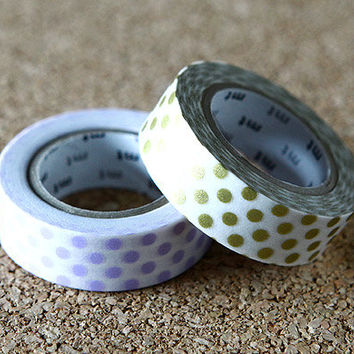 Polka Dot, Japanese Washi Paper Masking Tape, Gold & Purple, 2 Rolls Set, mt Deco, Scrapbooking, Collage, Gift Wrapping, Decor Art Sticker