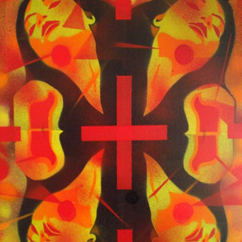 painting of woman on large box canvas,let the sunshine in,stencil art & spraypaints on 18 x 24 inch canvas,symmetry,sun,worship,wall art