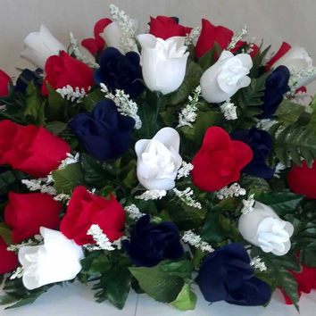 Premium Rosebud Headstone Spray with Patriotic Silk Flowers - 34 inch