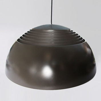 Modernist Danish Large Black Brown Arne Jacobsen Pendant Lamp AJ Royal Jacobsen Light - Louis Poulsen 60s