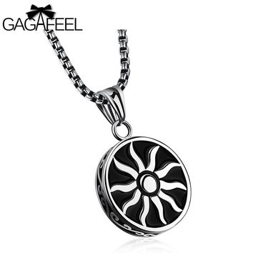 GAGAFFEL Sun Necklaces Laser Custom Engraved Logo For Men Black Stainless Steel Pendant God Light Jewelry Beat Gift To Male