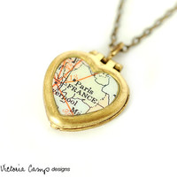 Paris France Map Necklace on Tiny Vintage Heart Locket - You Choose Chain Brass or Sterling Silver