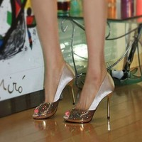 bridal High-heeled shoes women's wedding shoes Champagne Color Bridal Dress Shoes Glitter Prom Shoes