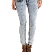 Zipper Pocket Acid Wash Skinny Jeans - Acid Wash Denim