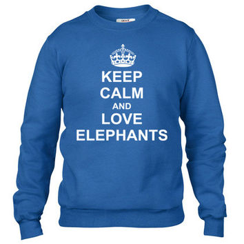 Keep Calm And love elephants Crewneck sweatshirt