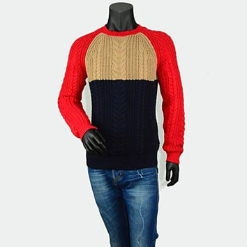 Men's Crew Neck Fashion Traveling Long Sleeve Cable Stitch Contrast Slim Sweater