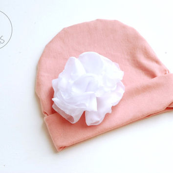 Newborn outfit newborn baby girl PINK hat with Oversized FLOWER baby hat baby hat newborn baby hospital hat baby hat