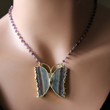 Raw Amethyst Druzy Butterfly Pendant Necklace, Purple Gemstone, Rosary Style, Gold Vermeil, Geode Slice, Statement Necklace