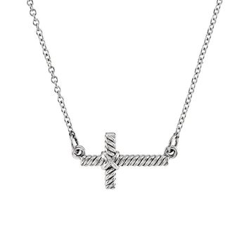 16mm Sideways Rope Cross Necklace in 14k White Gold, 16.5 Inch