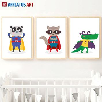 Cartoon Superhero Panda Crocodile Koala Wall Art Canvas Painting Nordic Posters And Prints Wall Pictures For Boy Kids Room Decor
