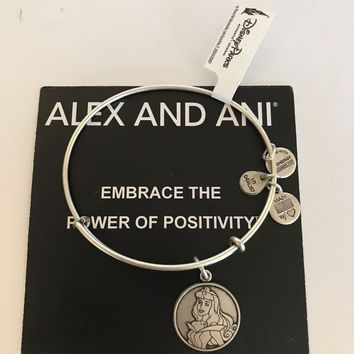 Disney Parks Sleeping Beauty Aurora Charm Bangle By Alex & Ani Silver Finish New