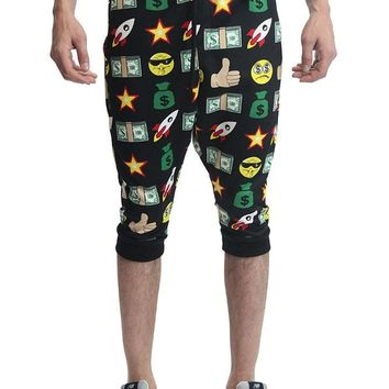 Emoji Print French Terry Jogger Shorts