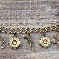 Bullet jewelry. Hunting or country western charm bracelet with bullet casings