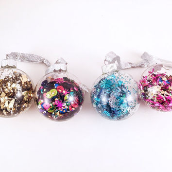 Confetti Ornament - Pink, Blue, Gold, Silver Ball Ornaments - Christmas Decorations // Holiday Decor