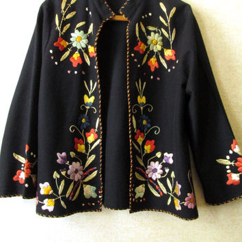 Boho Jacket Embroidered Coat vintage 60s 70s black wool floral wearable art ethnic folkloric hippie hipster gypsy women medium anthro style