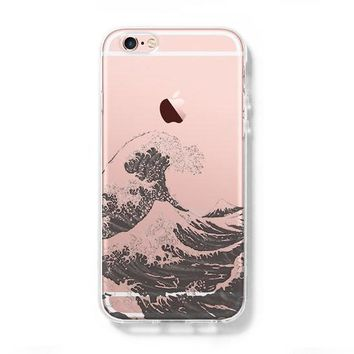 Japanese Ocean Wave iPhone 6s 6 Clear Case iPhone 6s plus Cover iPhone 5S 5 5C Hard Transparent Case C0003